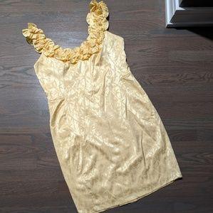 Yellow Ruffle Cocktail Dress!